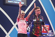 Fallon Sherrock hits a double and wins her first round match against Ted Evetts during the PDC William Hill World Darts Championship at Alexandra Palace, London, United Kingdom on 17 December 2019.