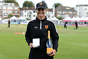 Suzie Bates of Southern Vipers was awarded the Player of the match during the Kia Women's Cricket Super League semi-final match between Loughborough Lightning and Southern Vipers at the 1st Central County Ground, Hove, United Kingdom on 1 September 2019.