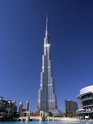 View of Burj Khalifa tower in Dubai in United Arab Emirates