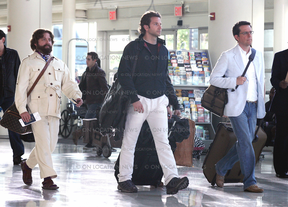 October 08th 2010 Ontario, CA. ***EXCLUSIVE***  Bradley Cooper, Zach Galifianakis, Justin Bartha and Ed Helms film a scene for The Hangover 2 in the Ontario, CA Airport. This is the scene in the movie where all the characters depart Los Angeles for Thailand. Photos by Danny Mayer, Eric Ford/On Location News 818-613-3955 info@onlocationnews.com