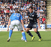 Dundee's Paul McGowan takes on St Johnstone's Scott Brown -  St Johnstone v Dundee, SPFL Premiership at McDiarmid Park<br /> <br />  - &copy; David Young - www.davidyoungphoto.co.uk - email: davidyoungphoto@gmail.com