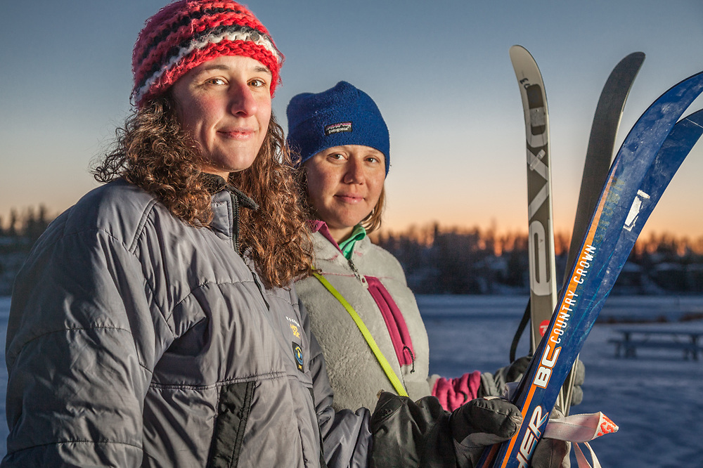 Social worker Bobbie Jo Nault and nurse practitioner Stephanie Birdsall are about to set out for an early evening ski near Westchester lagoon, Anchorage  bobbiejo.nault@gmail.com
