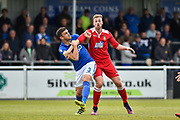 Eastleigh Defender, Mike Green (3) holds on to Wrexham AFC Forward, Jordan White (9) during the Vanarama National League match between Eastleigh and Wrexham FC at Arena Stadium, Eastleigh, United Kingdom on 29 April 2017. Photo by Adam Rivers.