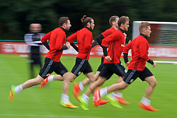 CARDIFF, WALES - Friday, September 2, 2016: Wales' Gareth Bale and team-mates during a training session at the Vale Resort ahead of the 2018 FIFA World Cup Qualifying Group D match against Moldova. (Pic by David Rawcliffe/Propaganda)