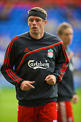 BOLTON, ENGLAND - Saturday, August 29, 2009: Liverpool's Jamie Carragher warms-up before the Premiership match against Bolton Wanderers at the Reebok Stadium. (Photo by David Rawcliffe/Propaganda)