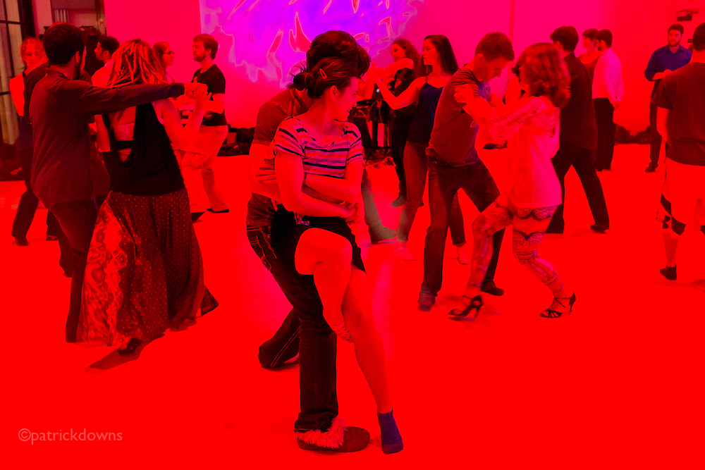 Fusion dance evening for hipsters, in downtown Seattle on a Saturday night.