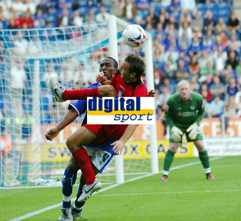 Photo: Kevin Poolman.<br />Leicester City v Colchester United. Coca Cola Championship. 23/09/2006. Karl Duguid (Colchester) tries to hook the ballback across to goal.