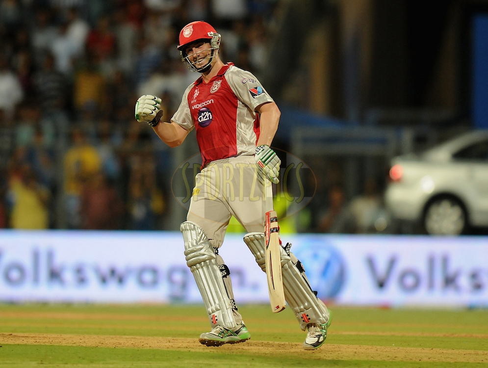 Shaun Marsh of Kings XI Punjab celebrates after hitting the winning run  during match 28 of the Indian Premier League ( IPL) 2012  between The Mumbai Indians and the Kings X1 Punjab held at the Wankhede Stadium in Mumbai on the 22nd April 2012..Photo by Pal Pillai/IPL/SPORTZPICS..