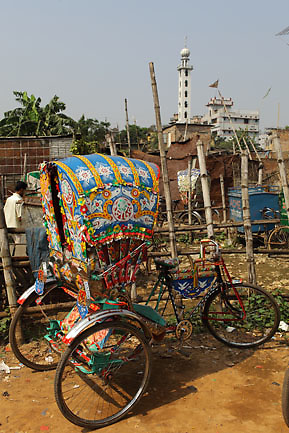 Backyard of a rickshaw garage in Old Dhaka where rickshaws are waiting to be repaired (Dhaka, Bangladesh).