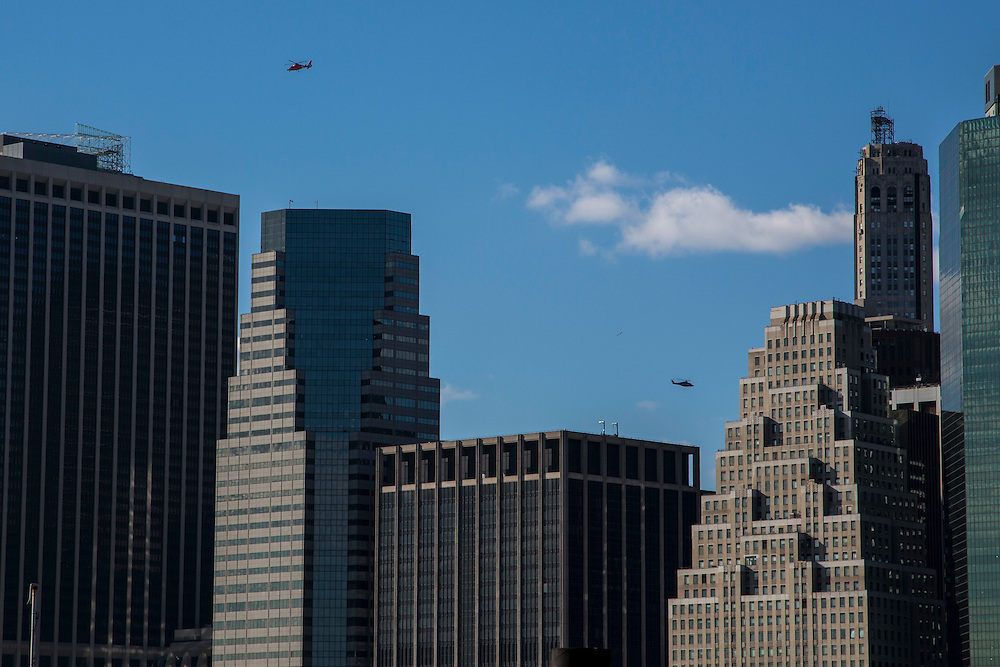 Two helicopters fly above the Manhattan skyline on a clear day, New York City, New York, United States of America.  (photo by Andrew Aitchison / In pictures via Getty Images)