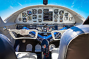 Panel of a fully restored and airworthy Cessna 195.  Peachstate Aerodrome, Williamson, Georgia.