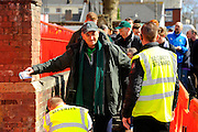 Security checks on fans entering the stadium before the Sky Bet League 2 match between Exeter City and Plymouth Argyle at St James' Park, Exeter, England on 2 April 2016. Photo by Graham Hunt.