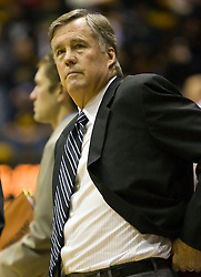December 28, 2009; Berkeley, CA, USA;  California Golden Bears head coach Mike Montgomery during the first half against the Utah Valley Wolverines  at the Haas Pavilion.  California defeated Utah Valley 85-51.