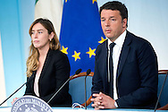 Rome may 10th 2016, cabinet meeting press conference. In the picture Maria Elena Boschi, Matteo Renzi