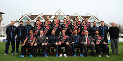 The Somerset Team pose (from left to right) Back: Alex Barrow, Jack Leach, Sam Wyatt-Haines, Ollie Sale, James Regan and Johann Myburgh.<br /> Middle: Pete Sanderson, Jamie Thorper, Steve Snell, Lewis Gregory, Max Waller, Jamie Overton, Adam Dibble, Tim Groenewald, Jim Allenby, Darren Vanness, Gerry Stickley.<br /> Front: Alfonso Thomas, Andy Nash, Matt Maynard, Marcus Trescothick, Jason Kerr, Roy Kerslake and Peter Trego. - Photo mandatory by-line: Harry Trump/JMP - Mobile: 07966 386802 - 17/03/15 - SPORT - Cricket - Somerset Press Call - The County Ground, Taunton, England.