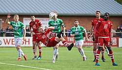 RHOSYMEDRE, WALES - Sunday, May 5, 2019: Connah's Quay Nomads' Jamie Insall sees his shot saved during the FAW JD Welsh Cup Final between Connah's Quay Nomads and The New Saints at The Rock. (Pic by David Rawcliffe/Propaganda)