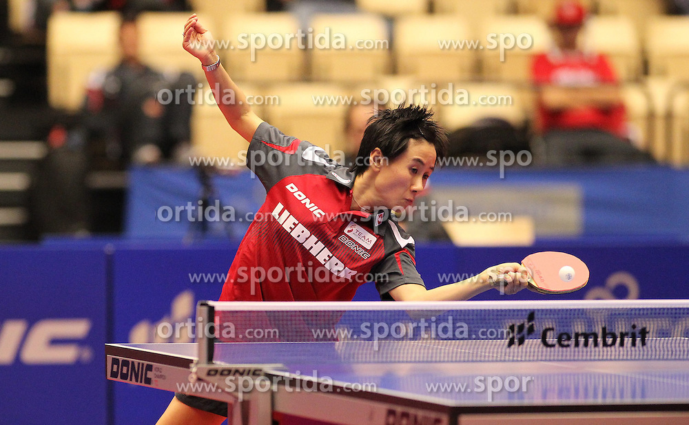 20.10.2012, MGH Arena, Herning, DEN, ETTU, Tischtennis Europameisterschaft, im Bild Jia LIU (AUT) bei der Ballannahme // during the Table Tennis European Championships at the MGH Arena, Herning, Denmark on 2012/10/20. EXPA Pictures © 2012, PhotoCredit: EXPA/ Eibner/ Wuest **** ATTENTION - OUT OF GER *****