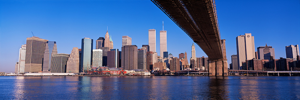 Brooklyn Bridge and Lower Manhattan Skyline, New York City, New York, designed by John Augustus Roebling