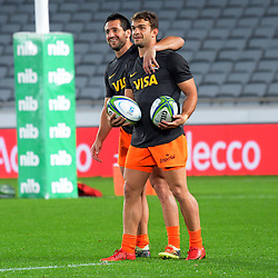 The Jaguares warm up for the Super Rugby match between the Blues and Jaguares at Eden Park in Auckland, New Zealand on Friday, 28 April 2018. Photo: Dave Lintott / lintottphoto.co.nz
