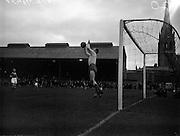 11/09/1960<br /> 09/11/1960<br /> 11 September 1960<br /> Soccer International Ireland v Iceland at Dalymount Park, Dublin. Danielsson leaps for the ball.
