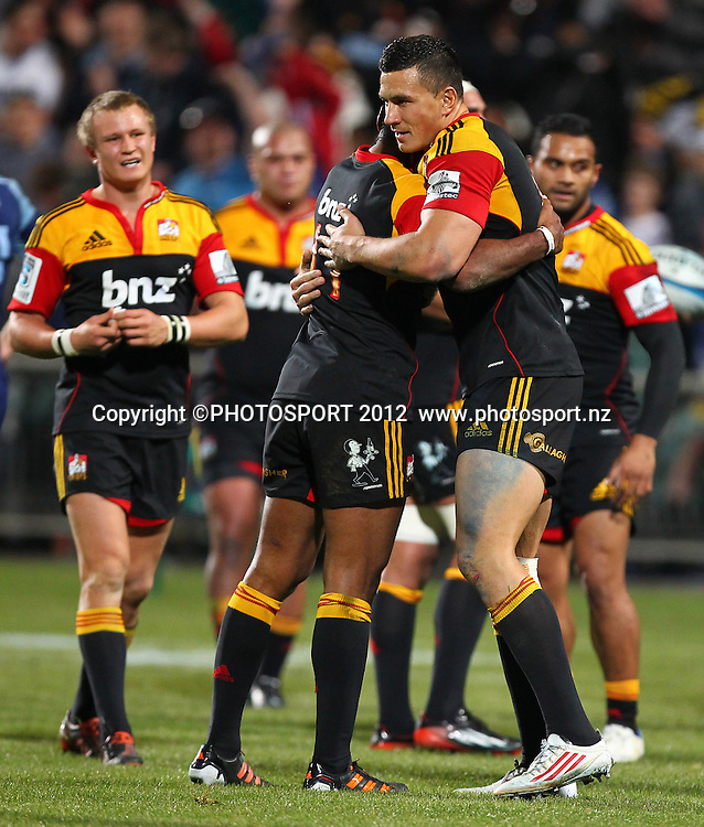 Sonny Bill Williams celebrates winning during the Super Rugby game between The Blues and The Chiefs, North Harbour Stadium, Auckland, New Zealand, Saturday June 2nd 2012. Photo: Simon Watts / photosport.co.nz