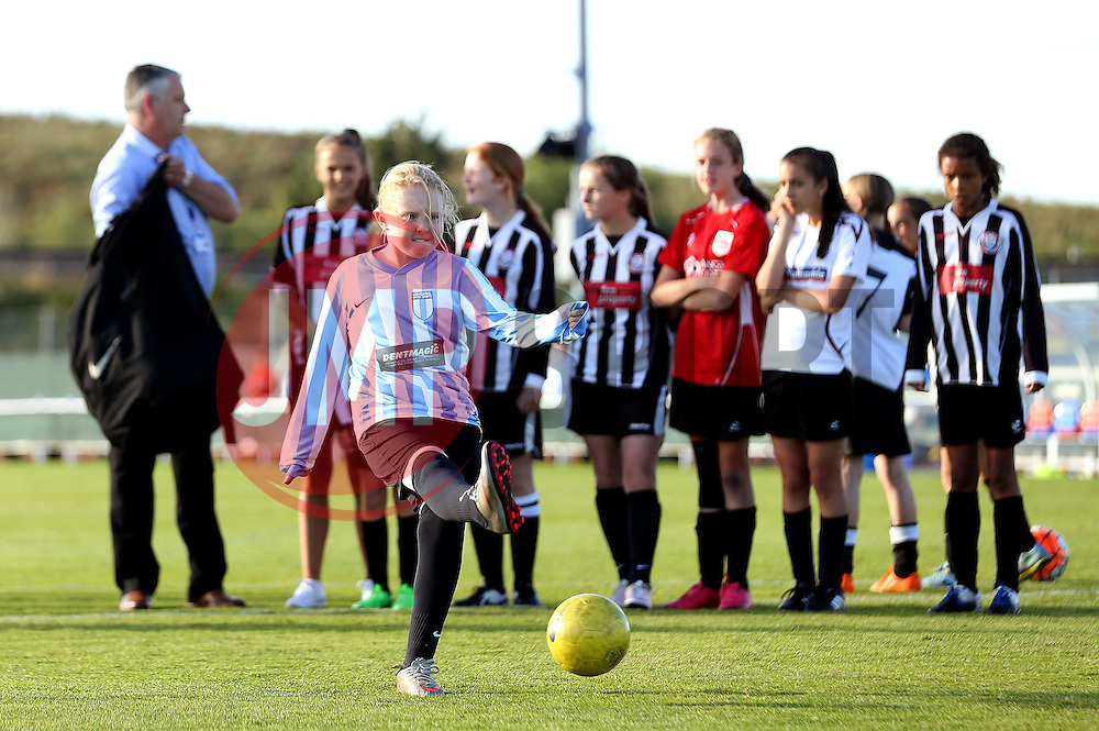 Kids have a penalty shootout on the pitch at Stoke Gifford during half time of Bristol City Women vs London Bees - Mandatory by-line: Robbie Stephenson/JMP - 23/07/2016 - FOOTBALL - Stoke Gifford Stadium - Bristol, England - Bristol City Women v London Bees - FA Women's Super League 2