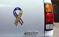 UNITED STATES-CAPE COD- Support our Troops sticker. PHOTO: GERRIT DE HEUS..VS-CAPE COD-Steun aan de Amerikaanse troepen via een sticker .  PHOTO  GERRIT DE HEUS