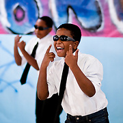 "May 21, 2010 - Bronx, NY : PS51 students perform ""fame"" for an arts and dance contest. Lead male vocalist John Buckinghman, a third grader, and backup dancers."