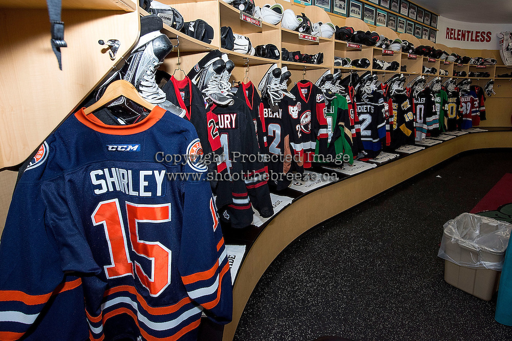 KELOWNA, CANADA - NOVEMBER 9: Team WHL dressing room on November 9, 2015 during game 1 of the Canada Russia Super Series at Prospera Place in Kelowna, British Columbia, Canada.  (Photo by Marissa Baecker/Western Hockey League)  *** Local Caption *** dressing room;