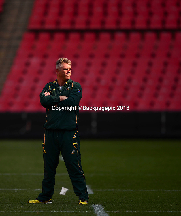 Heyneke Meyer. coach of South Africa during the 2013 Castle Rugby Championship South Africa captains run at Ellis Park in Johannesbburg, South Africa on October 04, 2013©Barry Aldworth/BackpagePix