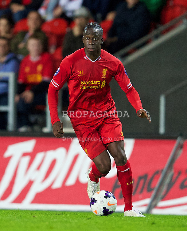 ST HELENS, ENGLAND - Monday, October 7, 2013: Liverpool's Aly Cissokho in action against Tottenham Hotspur during the Under 21 FA Premier League match at Langtree Park. (Pic by David Rawcliffe/Propaganda)