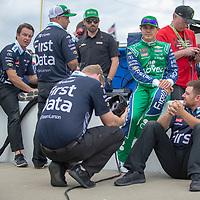 May 11, 2018 - Kansas City, Kansas, USA: Kyle Larson (42) gets ready to qualify for the KC Masterpiece 400 at Kansas Speedway in Kansas City, Kansas.