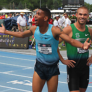 JOHNSON - 13USA, Des Moines, Ia. - Brandon Johnson reacts to the news that he finished 3rd in the 800, thus making the USA team that will compete in the World Championships in Moscow later in the summer.  Second place went to an amused Nick Symmons.   Photo by David Peterson