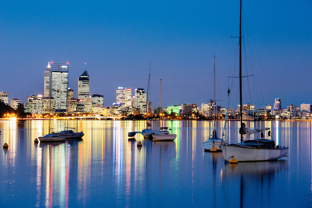 Perth city skyline reflected in the Swan River.