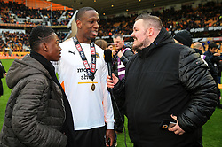 Free to use courtesy of Sky Bet - of Wolverhampton Wanderers players celebrate after lifting the Sky Bet Championship 2017/18 league trophy - Mandatory by-line: Matt McNulty/JMP - 28/04/2018 - FOOTBALL - Molineux - Wolverhampton, England - Wolverhampton Wanderers v Sheffield Wednesday - Sky Bet Championship