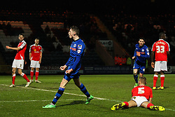 Rochdale's Joe Bunney celebrates after scoring his sides second goal - Photo mandatory by-line: Matt McNulty/JMP - Mobile: 07966 386802 - 03/03/2015 - SPORT - football - Rochdale - Spotland Stadium - Rochdale v Crewe Alexandra - Sky Bet League One