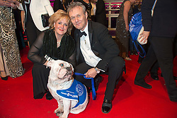 ANTHONY HEAD and SARAH FISHER with Battersea dog Marjorie at the Battersea Dogs & Cats Home's Collars & Coats Gala Ball held at Battersea Evolution, Battersea Park, London on 12th November 2015.