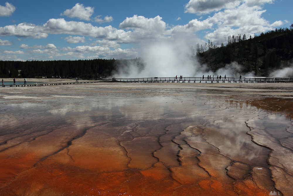 Ripples in the run-off from Grand Prismatic Spring, Yellowstone National Park, Wyoming, USA
