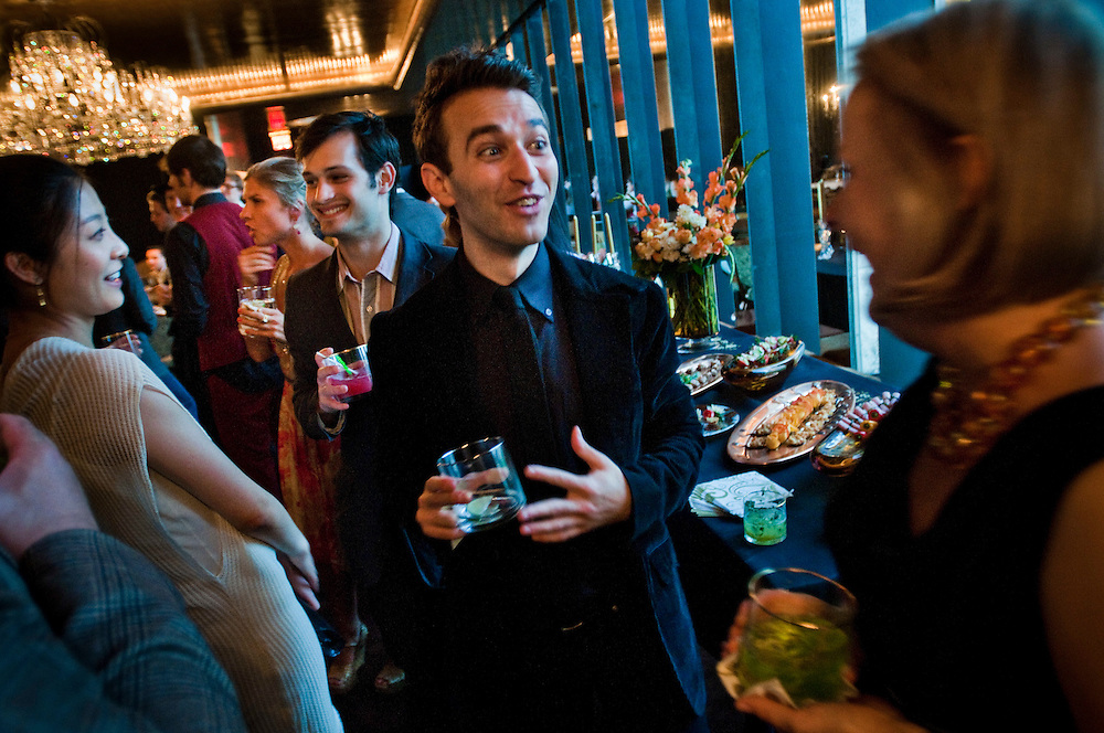 Vodka Party arranged by Agnieszka Balaban at the Metropolitan Opera. Meeting of the Young Associates with countertenor Anthony Roth Constanzo..Photographer: Chris Maluszynski /MOMENT