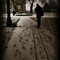 A figure walking along an icy path lined with trees towards a large building