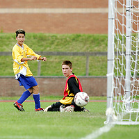 SFA U13 Kennedy Cup Tournament Clare V Sligo at University of Limerick 12th June 2007.<br />Pictured is Robert Chang scoring a goal for Clare.<br />Pic. Emma Jervis/Press 22