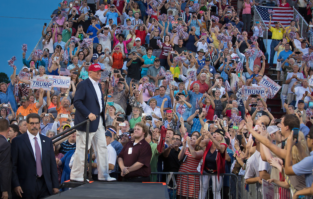 Aug. 21. 2015 Mobile, AL, Republican presidential candidate and business mogul Donald Trump enters that pep rally set up by his campaing in Ladd Peebles Stadium. Around 20 thousand came to the Ladd-Peebles Stadium to attend Trumps campaign pep rally though 40000 were expected. . People were asked not to bring signs.