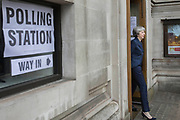 UNITED KINGDOM, London: 3 May 2018 British Prime Minister Theresa May walks out of the polling station at the Methodist Central Hall in Westminster this morning after casting her vote for the local elections in 150 local authorities. Rick Findler / Story Picture Agency