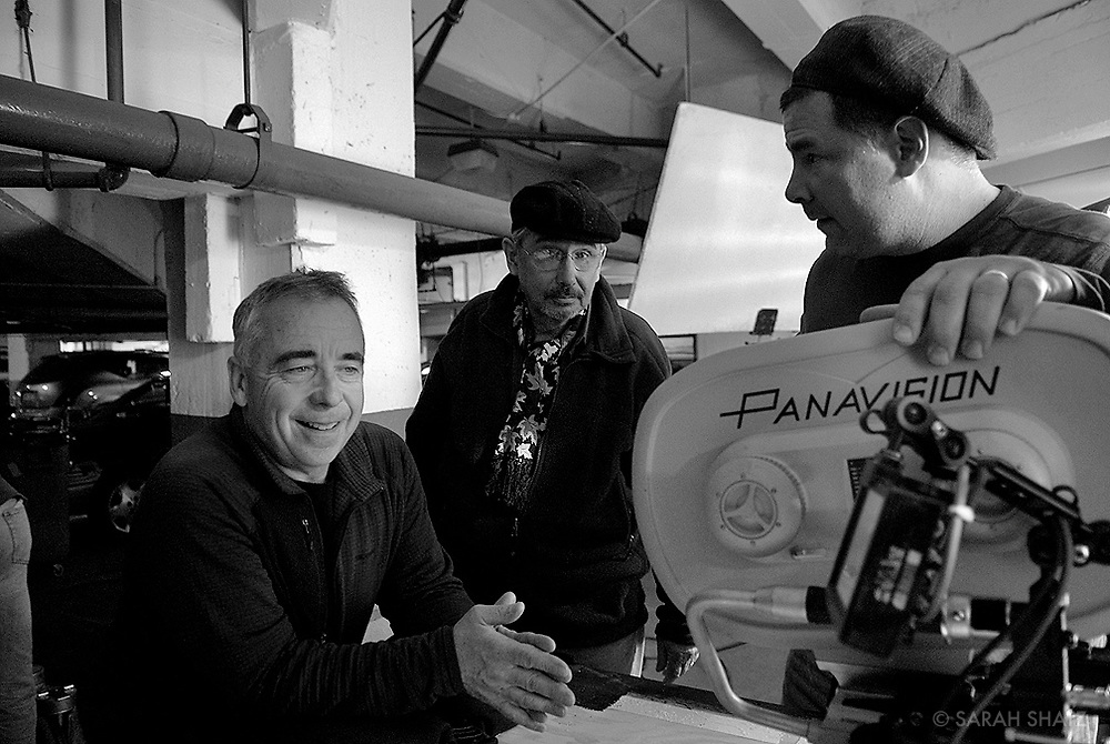 "Bruce MacCallum, Fred Murphy, Erik Swanek on the set of ""Ghost Town"" (Dir: David Koepp, 2008)"