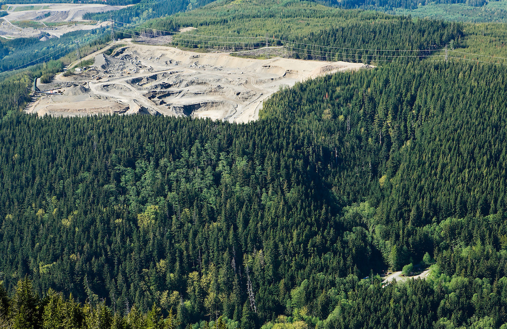 A view looking down on a gravel pit just East of Northbend, Washington in the Cascade Mountain foothills, USA.
