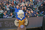 Bath mascot Hercules with the crowd during the Aviva Premiership match between Bath Rugby and Gloucester Rugby at the Recreation Ground, Bath, United Kingdom on 29 October 2017. Photo by Gary Learmonth.