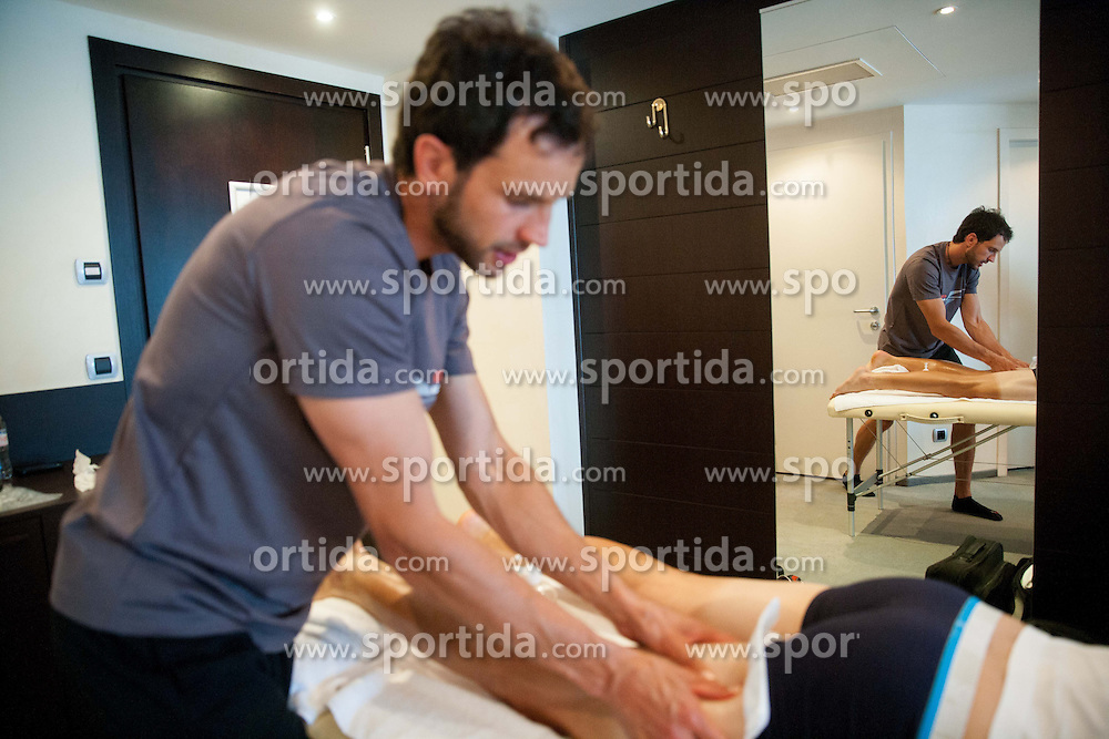 Physiotherapist Benjamin Trontelj of KK Adria Mobil during massage in Austria Trend Hotel One day before the 20th Tour de Slovenie 2013,  on June 12, 2013 in Ljubljana, Slovenia. (Photo By Vid Ponikvar / Sportida)