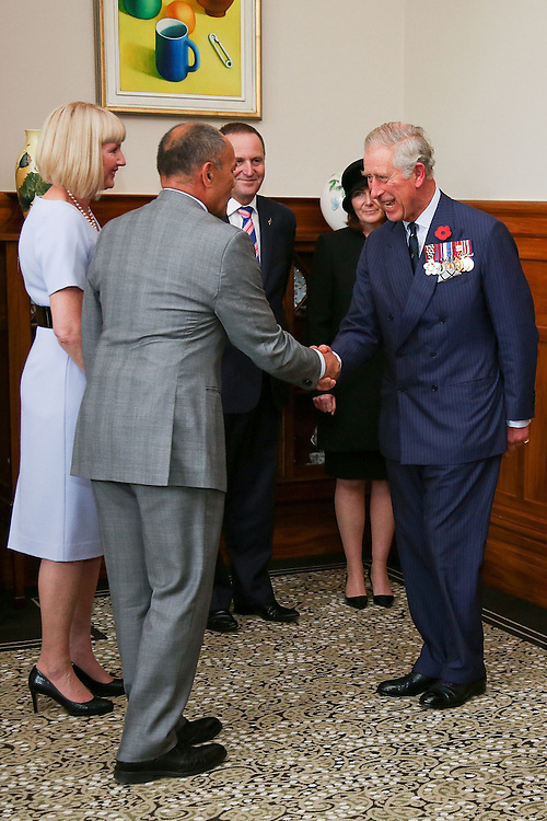 Governor-General Sir Jerry Mateparae greets Prince Charles, Prince of Wales prior to presenting him with new Military Warrants at Government House , Wellington, New Zealand, Wednesday, November 04, 2015. Credit:SNPA / Getty, Hagen Hopkins **POOL**