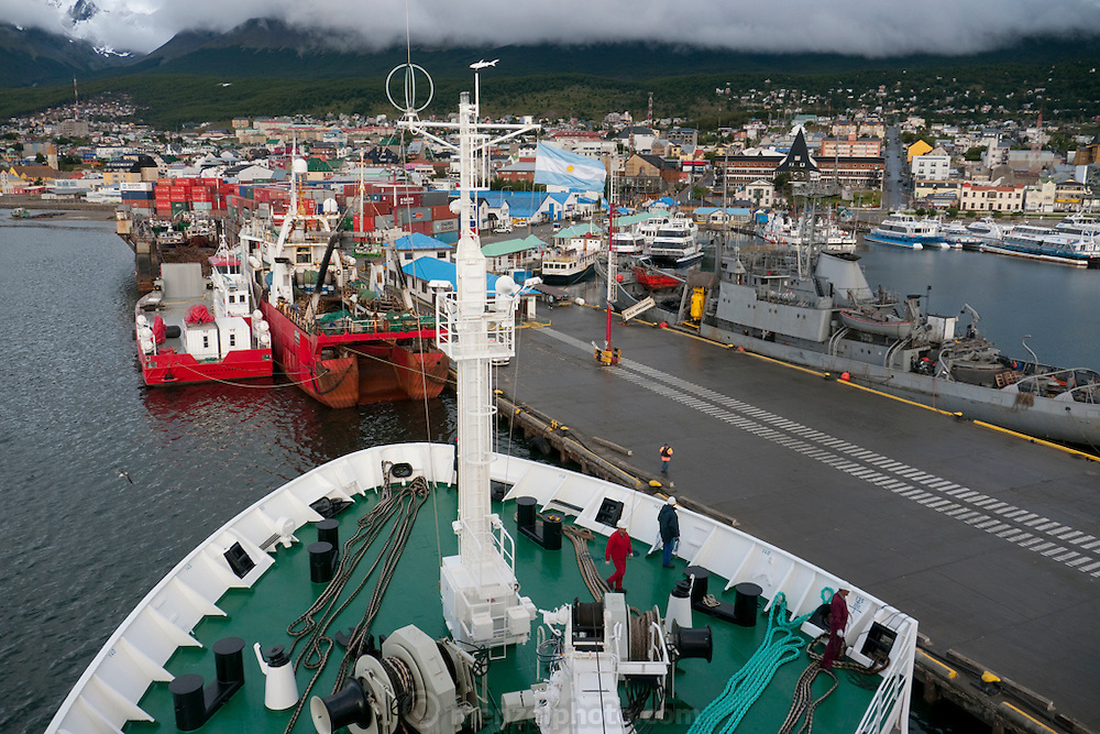 Port of Ushuaia, southernmost city in the world. Tierra del Fuego, Argentina.