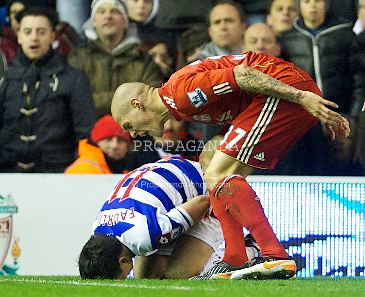LIVERPOOL, ENGLAND - Saturday, December 10, 2011: Liverpool's Martin Skrtel screams at Queens Park Rangers' Alejandro Faurlin during the Premiership match at Anfield. (Pic by David Rawcliffe/Propaganda)